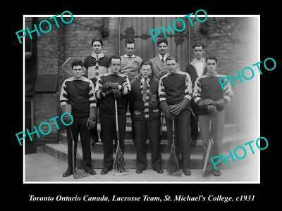 OLD 8x6 HISTORIC PHOTO OF TORONTO CANADA, St MICHAELS LACROSSE TEAM 1931