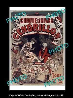 OLD 8x6 HISTORIC PHOTO OF FRENCH CIRCUS POSTER c1900 CIRQUE d'HIVER