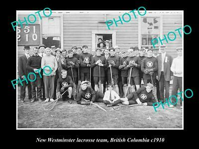 OLD 8x6 HISTORIC PHOTO OF NEW WESTMINSTER LACROSSE TEAM, BRITISH COLUMBIA 1910