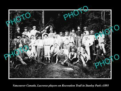 OLD 8x6 HISTORIC PHOTO OF VANCOUVER CANADA, LACROSSE CLUB AT STANLEY PARK 1895
