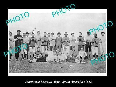 OLD 8x6 HISTORIC PHOTO OF JAMESTOWN SA, THE TOWN LACROSSE TEAM c1912