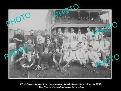 OLD 8x6 HISTORIC PHOTO OF THE SOUTH AUSTRALIA v VICTORIA LACROSSE TEAM c1888