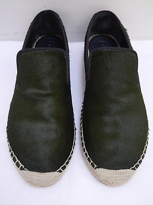 c7dbad6d5c5 CELINE dark green calf pony hair espadrille flats shoes size 36 WORN ONCE