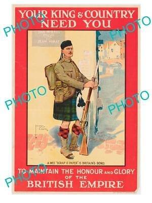 8x6 HISTORIC PHOTO OF WWI CANADA MILITARY POSTER YOUR KING & COUNTRY NEED YOU