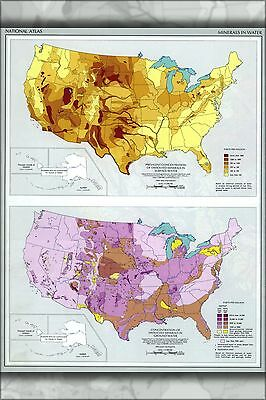 Poster, Many Sizes; Map Of Minerals In Water In United States Pb.1970