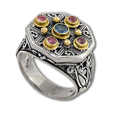 Gerochristo 2222 ~ Solid Gold, Silver & Stones - Medieval Byzantine Ring