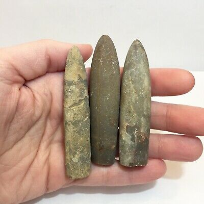"""Lot of 3 Belemnite """"Bullet"""" Fossils (crystal & mineral collection, Cephalopod)"""
