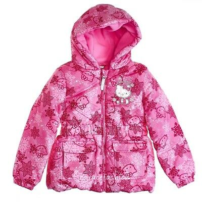 Hello Kitty Girls Pink Snowflake Fleece Hooded Winter Puffer Jacket Coat 5T 5 6