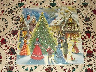 Vtg Christmas Wrapping Paper Gift Wrap Glitter 1950 Norcross Dickens Victorian