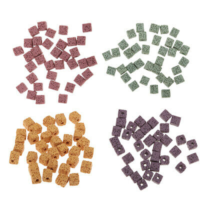 35x Dyed Cube Volcanic Lava Rock Gemstone Beads Natural Stone 8mm Loose DIY