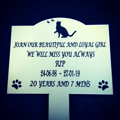 Personalised Pet Memorial Plaque Stake cat dog any pet - grave marker