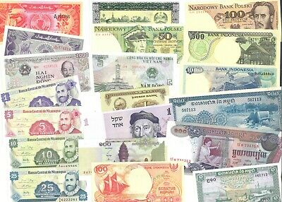 World Banknotes 20 Different Mixture All In UNC Conditions Lot 1