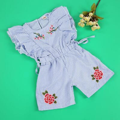 Classic Fashionable Baby Girl Romper Summer Stripe Ruffle Bodysuit Jumpsuit