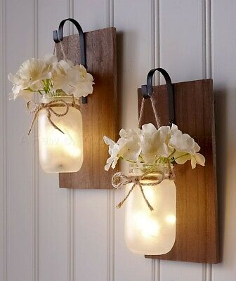 Hanging Mason Jar Sconce W/ Flower & Fairy Lights Country Farmhouse Home Decor