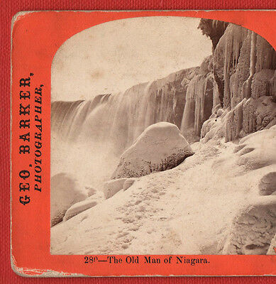 The Old Man Of  Niagara -  Geo.barker  Photographer -  Vintage Stereoview