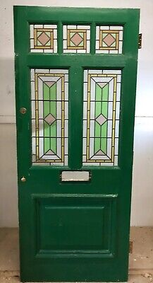 Victorian Stained Glass Front Door Period Old Reclaimed Antique Wood Leaded 1900