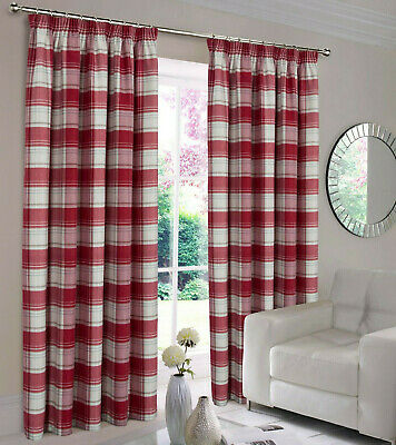 Shetland Highland Faux Wool Tape Top Curtains - Tartan Checked Brushed Faux Wool