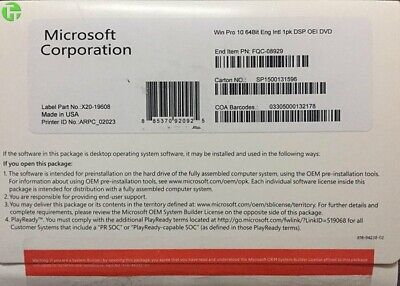 New Sealed Microsoft Windows 10 Professional 64 Bit DVD with product key