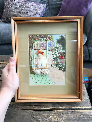 Vintage handmade framed embroidery picture of girl on swing with flowers