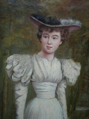 ANTIQUE 19th EARLY 20th C PORTRAIT AN ELEGANT YOUNG LADY OIL PAINTING SIGNED GM