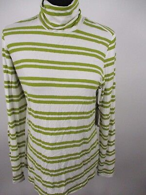 G.H. Bass Womens Long Sleeve Striped Turtleneck Top Ivory Olive M NWT