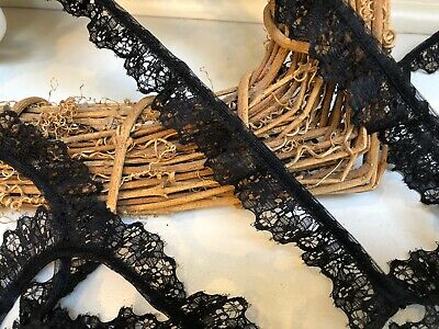 "2.2cm/7/8"" Pretty Black Nottingham Gathered Frilled Lace Trim. Sewing Crafts"