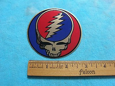 Grateful Dead Steal Your Face Red, Blue and Gold Heavy Duty Vinyl 3 Inch Sticker