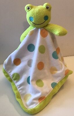 SECURITY BLANKET BABY STARTERS FROG BOY WHITE W// COLORFUL POLKA DOTS LIME GREEN