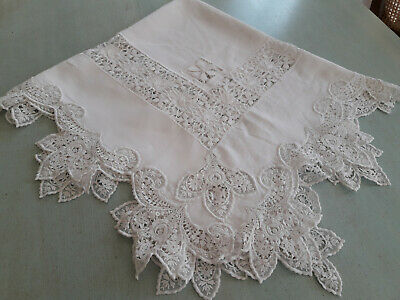 Lovely Vintage  Soft White  Linen  Tablecloth  With  Beautiful Lace Work