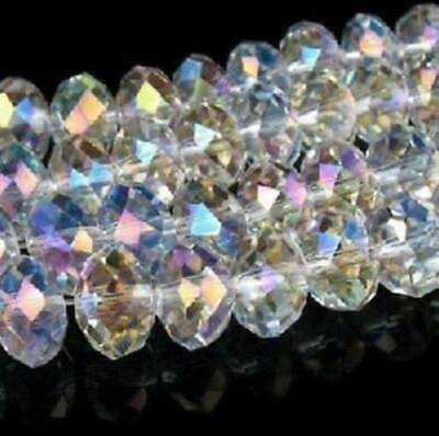 98PCS Wholesale Faceted Crystal Gemstone Loose Beads White AB 4*6MM