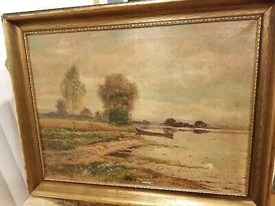 "Antique Original Large Oil Painting by 19th Century Artist J. Weiler 37"" by 29"""