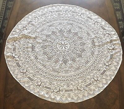 """Vintage Lace Doily Table Topper Beige Floral 41"""" Round Polyester"""