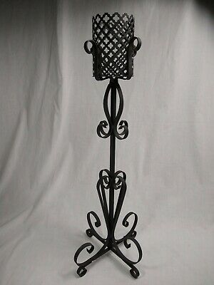 Wrought Iron Floor Candle Holder Metal 2' Tall Standing Rustic Gothic Vintage