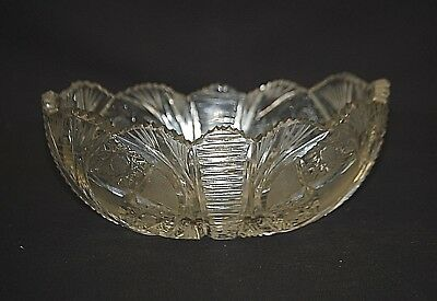Vintage Elegant Pasabahce Clear Cut Glass Centerpiece Oval Bowl w Sawtooth Edges