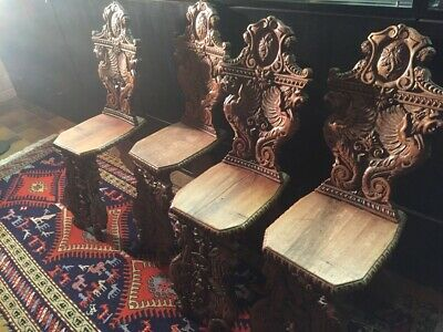 2x Antik Renaissance Stuhl, geschnitzt - 2 carved  HALL CHAIRS - 18th C -19th