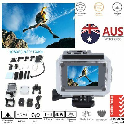 4K 1080p WIFI Waterproof Sports Action Video Camera Go Pro Fit Mount charger
