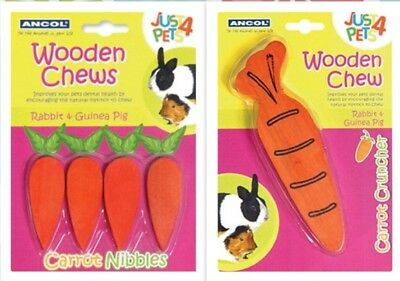 Natural Wooden Carrot Gnaw Nibble Dental Rabbit Hamster Guinea Pig Chew Toy