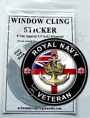 ROYAL NAVY - VETERAN, WINDOW CLING STICKER  8.7cm Diameter
