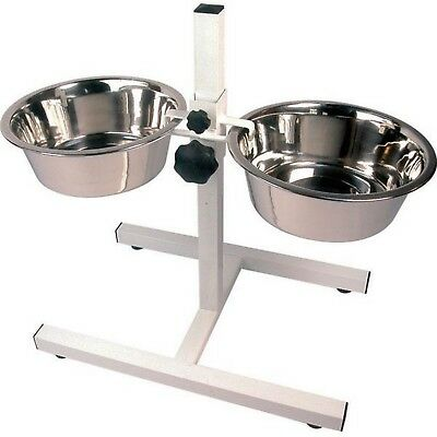 Raised Twin Dog High Feeder High Stand inc Bowls Adjustable for Larger Dogs