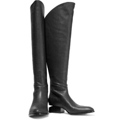 ALEXANDER WANG BLACK Leather Sigrid Tall Over The Knee Boots