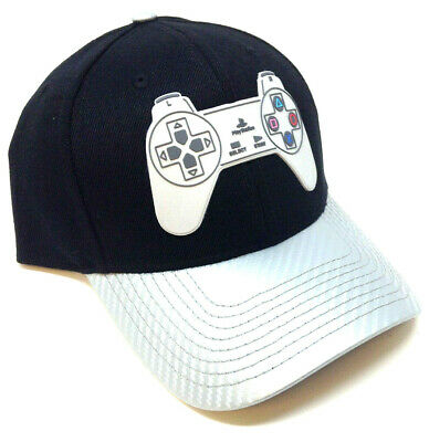 new concept 2c24f 1e687 Sony Playstation Controller Logo Black   Grey Curved Bill Snapback Hat Cap  Retro