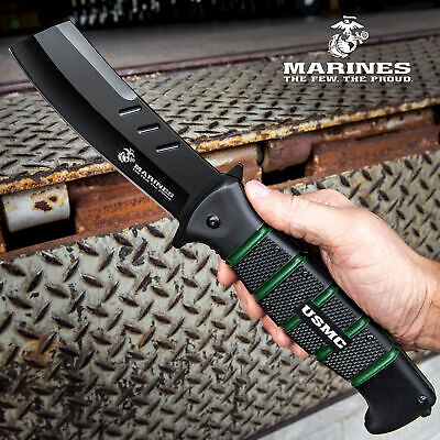 """12 1/2"""" USMC Stainless Steel Spring Assisted Opening Folding Cleaver Knife NEW"""