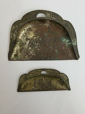 Vintage Crumb Catcher Dust Pan Table Butler Sweeper Tray Set of 2