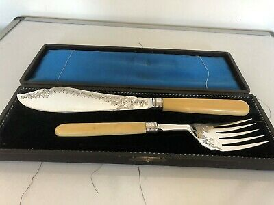 Victorian Solid Silver Fish Serving Set With Ivorine Handles (Sheffield 1895)
