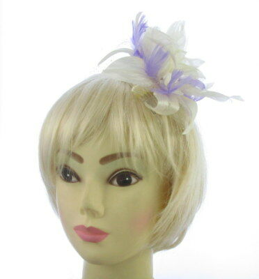 CREAM WITH LILAC Fascinator on a comb for Ascot , Races, Weddings