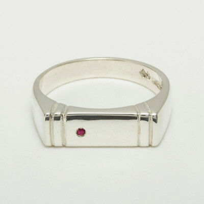 14ct White Gold Natural Ruby Mens Band Ring - Sizes N to Z