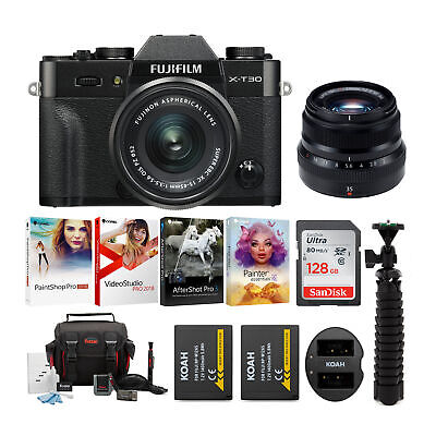 Fujifilm X-T30 Mirrorless Camera (Black) with 15-45 and XF35mm Lens Bundle