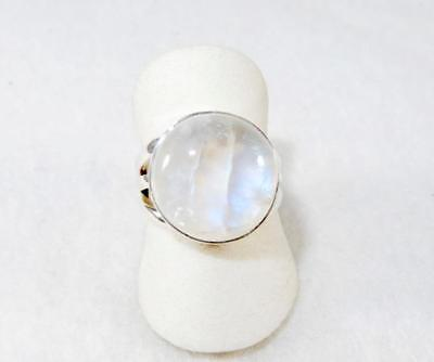 Rainbow Moonstone Flashy Round Ring Triple Band 925 Sterling Silver Size 6.75