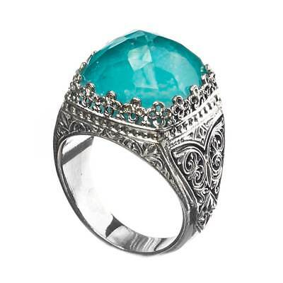 Gerochristo 2860N ~ Sterling Silver Medieval-Byzantine Doublet Cocktail Ring