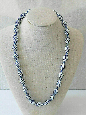 "Vtg Chinese Export Flow Blue White Stripe Ceramic Bead Knotted Necklace 23"" Euc"